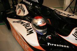 Michael Andretti's distinctive helmet with the new Jim Beam Vonage colors on his Dallara Honda Fires