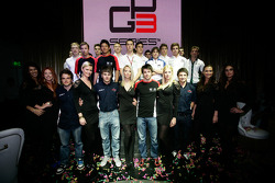 GP2 launch party, Billionaire Istanbul: Dean Smith, Matias Laine, Rio Haryanto, Alexander Sims, Gabriel Chaves, Ivan Lukashevich, Antonio Felix Da Costa, Pedro Nunes, Simon Trummer, Lewis Williamson, Adrian Quaife-Hobbs, Mitch Evans, and the GP3 field
