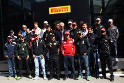 A Pirelli photoshoot with the drivers and Marco Tronchetti Provera, president of Pirelli