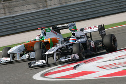 Rubens Barrichello, AT&T Williams en Adrian Sutil, Force India F1 Team