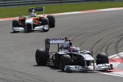 Rubens Barrichello, AT&T Williams, FW33 voor Adrian Sutil, Force India F1 Team, VJM-04