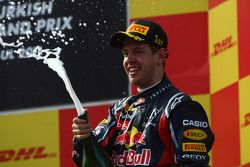 Podium: Sieger Sebastian Vettel, Red Bull Racing