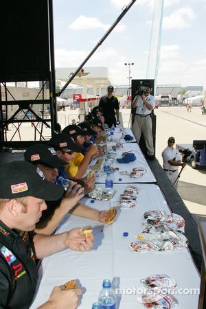 The Checkers Rally's Hamburger Eating Contest in full swing