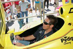 Kosuke Matsuura plays a racing simulator