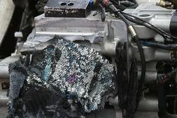 Damaged rear end of Buddy Rice's car