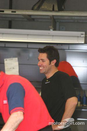 Larry Foyt in his garage