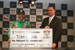 Tony Kanaan receives the fastest of the day check