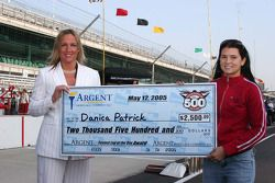 Danica Patrick receives the fastest of the day award