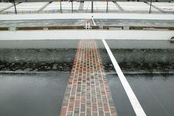 Heavy rain falls on the brickyard