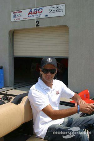 Darren Manning leaves the A.J. Foyt garage area