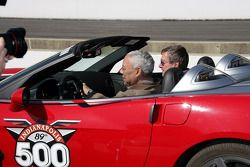 General Colin Powell takes practice laps around Indianapolis Motor Speedway in the Chevrolet Corvett