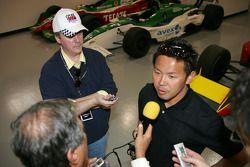 2004 Indianapolis 500 JPMorgan Chase Bank Rookie of the Year Kosuke Matsuura meets the media at the