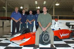 Vision Racing owner Tony George, front, with from left in back, Vision manager Larry Curry and drive