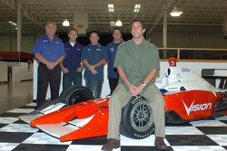 Vision Racing owner Tony George, front, with from left in back, Vision manager Larry Curry and drivers Ed Carpenter, Jeff Ward and Jay Drake