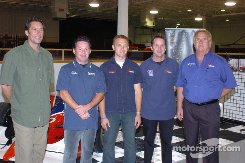 Vision Racing owner Tony George, drivers Jeff Ward, Ed Carpenter and Jay Drake, and Vision manager Larry Curry