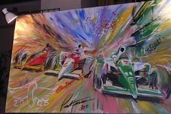 6th Annual Sam Schmidt Paralysis Foundation fundrasing gala: front row artwork by Bill Patterson