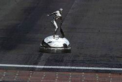 The Borg Warner Trophy top sits at the yard of bricks