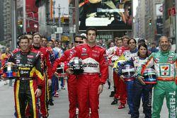 Scott Sharp, Sam Hornish Jr. and Tony Kanaan lead the field for the 89th Indianapolis 500