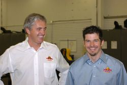 Patrick Carpentier and Eddie Cheever at the Cheever Racing shop