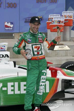 Victory lane: race winner Tony Kanaan celebrates