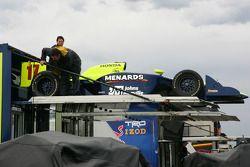 Rahal Letterman Racing crew members unpack car