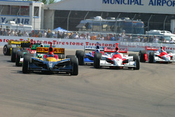First lap: Bryan Herta leads the field