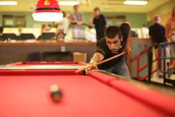 Dario Franchitti plays pool