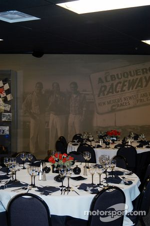 Banquet table settings in Jerry's Garage