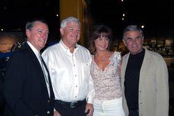 Newlyweds Wyatt and Joyce Swaim with Johnny Rutherford and Al Unser, Sr.