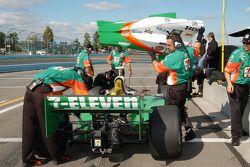 Tony Kanaan having his car adjusted