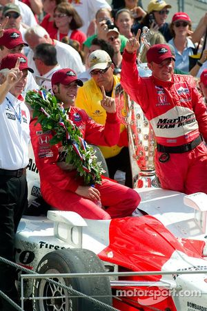 Sam Hornish Jr. celebrates his victory