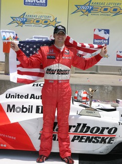 Victory lane: race winner Sam Hornish Jr. celebrates