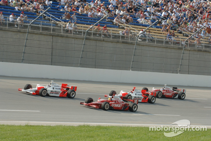 Sam Hornish Jr., Dan Wheldon and Helio Castroneves