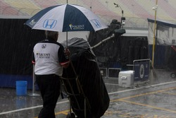 Rain falls on Michigan International Speedway