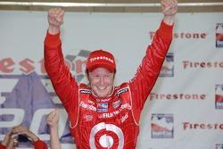 Victory lane: race winner Scott Dixon celebrates