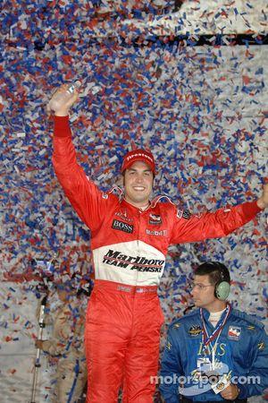 Victory lane: race winner Sam Hornish Jr. celebrates