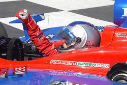 Race winner Marco Andretti celebrates