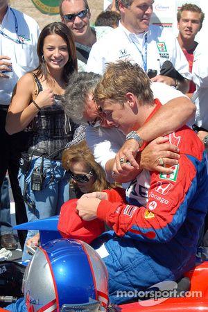 Mario Andretti greets Marco in Victory lane
