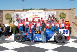 Victory lane: Marco and Michael Andretti with #27 team and Firestone Firehawk