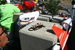A young fan with its car collection