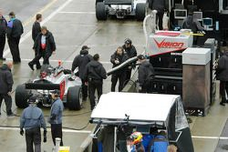 Tomas Scheckter has his pit set for the race