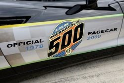 The 92nd Indianapolis 500 logo on the side of the black-and-silver commemorative edition Pace Car th