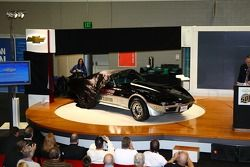 The cover is pulled from the 1978 Corvette Pace Car, the first 'Vette to pace