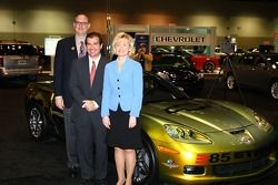 From left: Chevrolet General Manager Ed Peper, Indianapolis Motor Speedway President and Chief Operating Officer Joie Chitwood, Indiana Lt. Gov. Becky Skillman in front of the E85 concept Corvette Pace Car