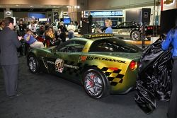 IMS President and COO Joie Chitwood, left, and Indiana Lt. Gov. Becky Skillman finish unveiling the E85 concept Chevrolet Corvette Pace Car for the 2008 Indianapolis 500. Two-time Indy 500 winner Emerson Fittipaldi will pace the field to the green flag in