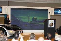 The two Chevrolet Corvette Pace Cars for the 2008 Indianapolis 500 are shown on video on the front straightaway of the Indianapolis Motor Speedway during the cars' unveiling Dec. 27 at the Indianapolis Auto Show