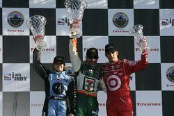 Podium: race winner Tony Kanaan with Danica Patrick and Dan Wheldon