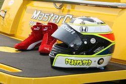 Helmet and boots of Tomas Scheckter