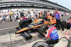 Andretti Green Racing crew members practice pitstop