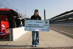 Danica Patrick receives the Ethanol fastest of the day check for $2,500